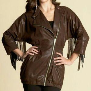 Kardashians Bebe Perforated Fringe Jacket